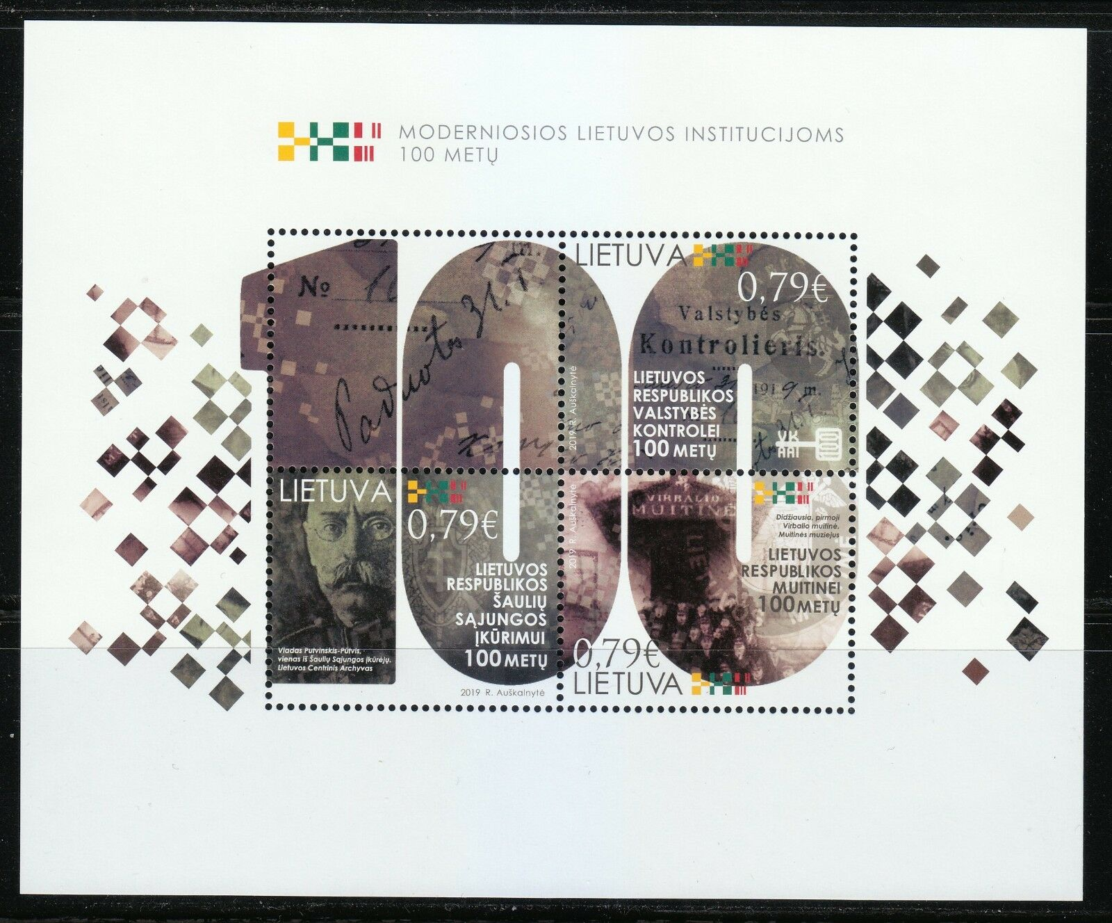 Lithuania - 100th Anniversary of Modern Institutions (January 14, 2019) souvenir sheet of 3 + label