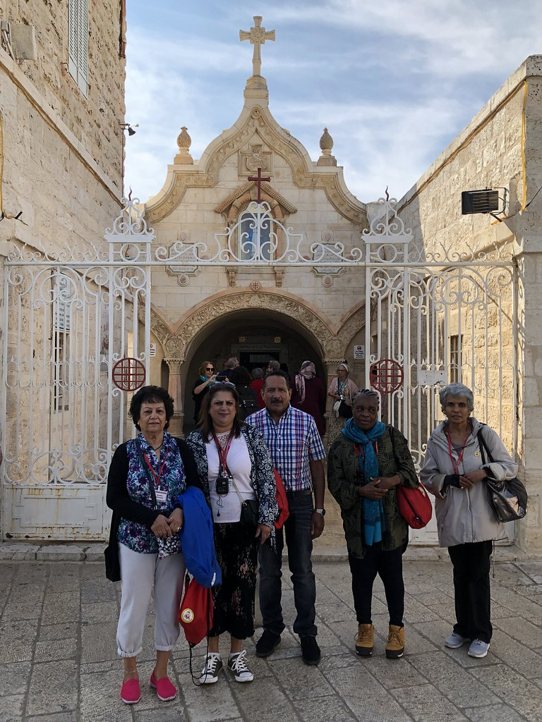 Pilgrims outside Milk Grotto Church