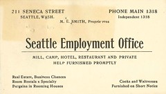 Seattle Employment Office business card, circa 1906