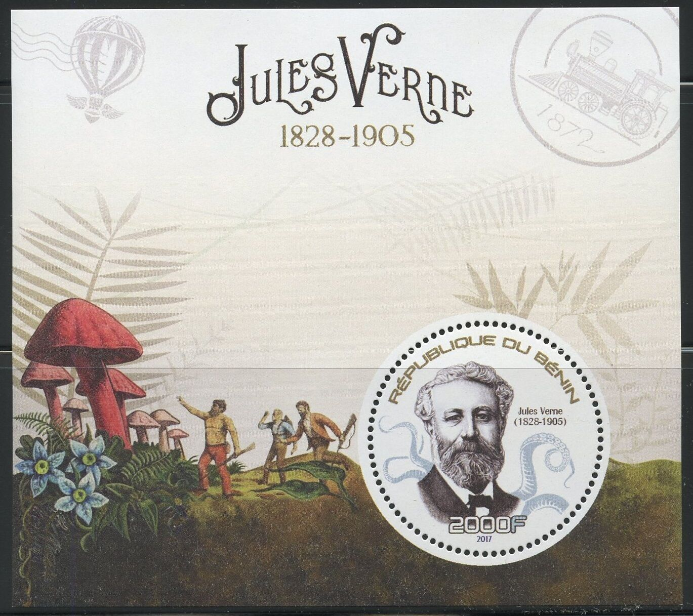 Benin - Jules Verne souvenir sheet released in 2017