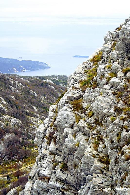 Горный склон и вид на вход в Боку Которскую