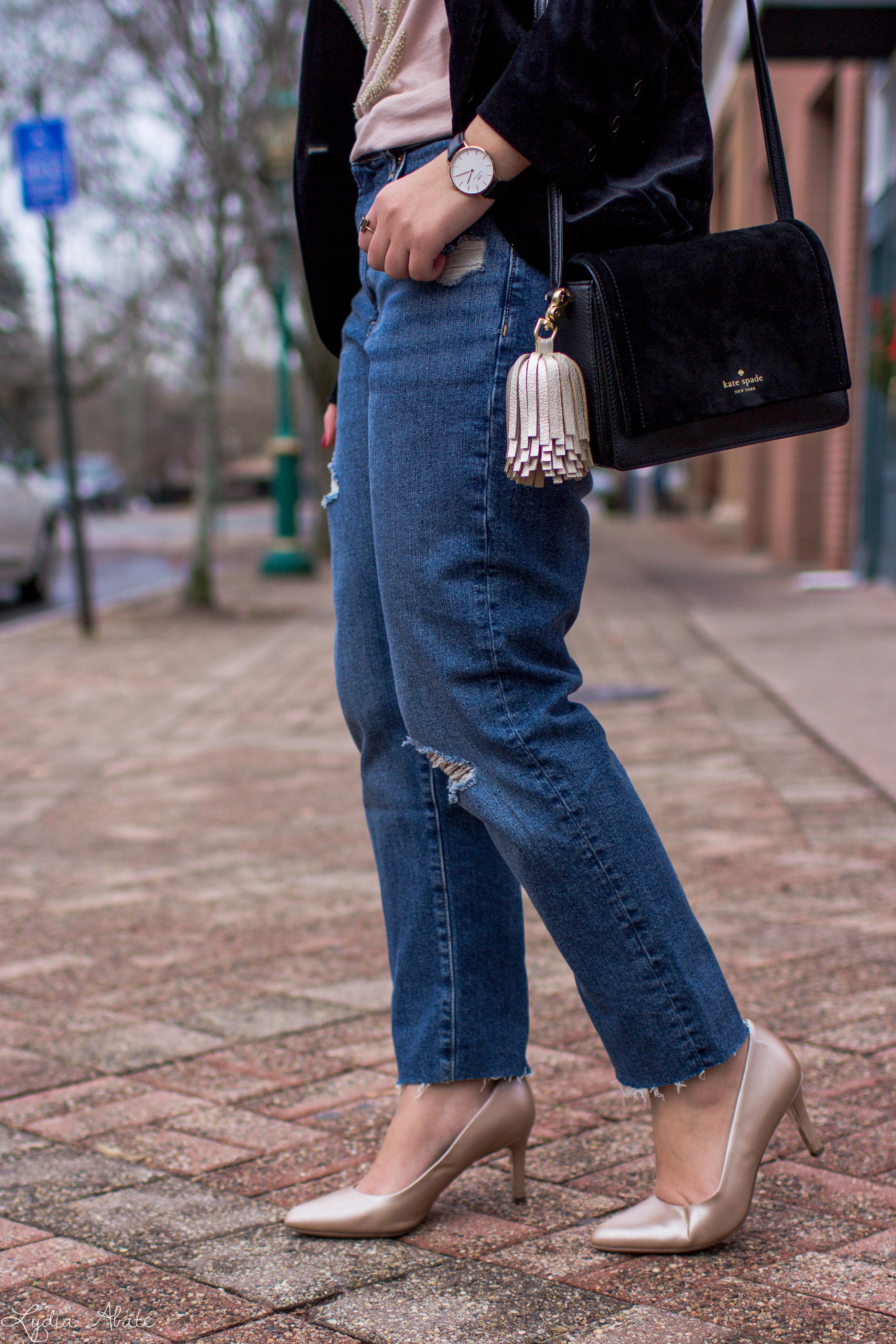 velvet blazer, distressed jeans, antler tee, nude pumps-9.jpg