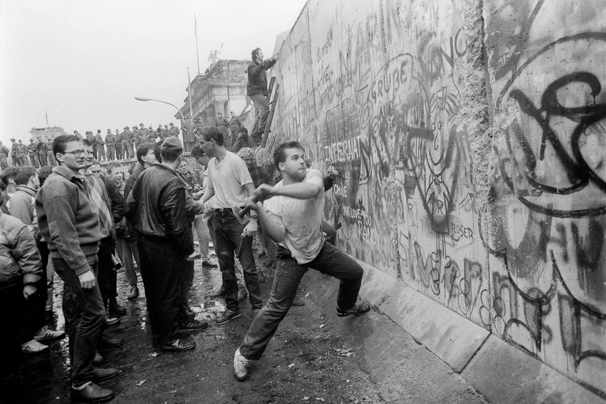 West Berliners at the Berlin Wall shortly after the garbled announcement by a senior East German official set off the chain of events bringing about the opening of the Wall. Photo taken in the early evening of November 9, 1989.