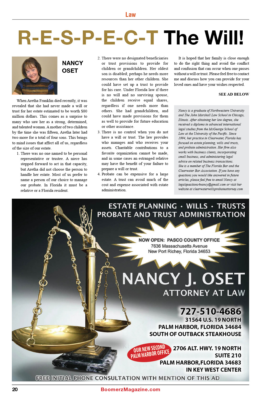2018 October Boomerz Magazine Page 20 Nancy Oset Respect the Will Article