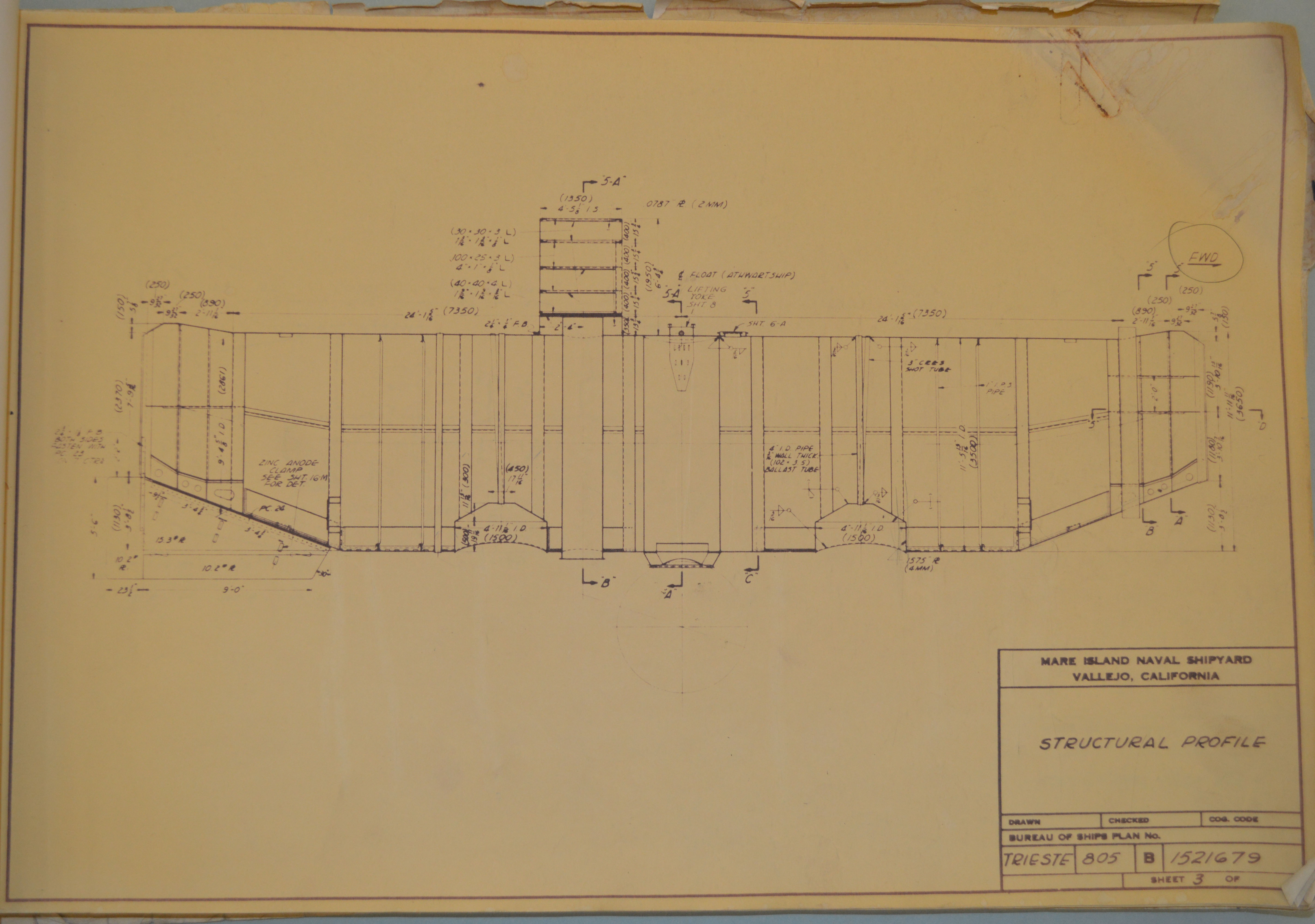 USS Trieste structural profile