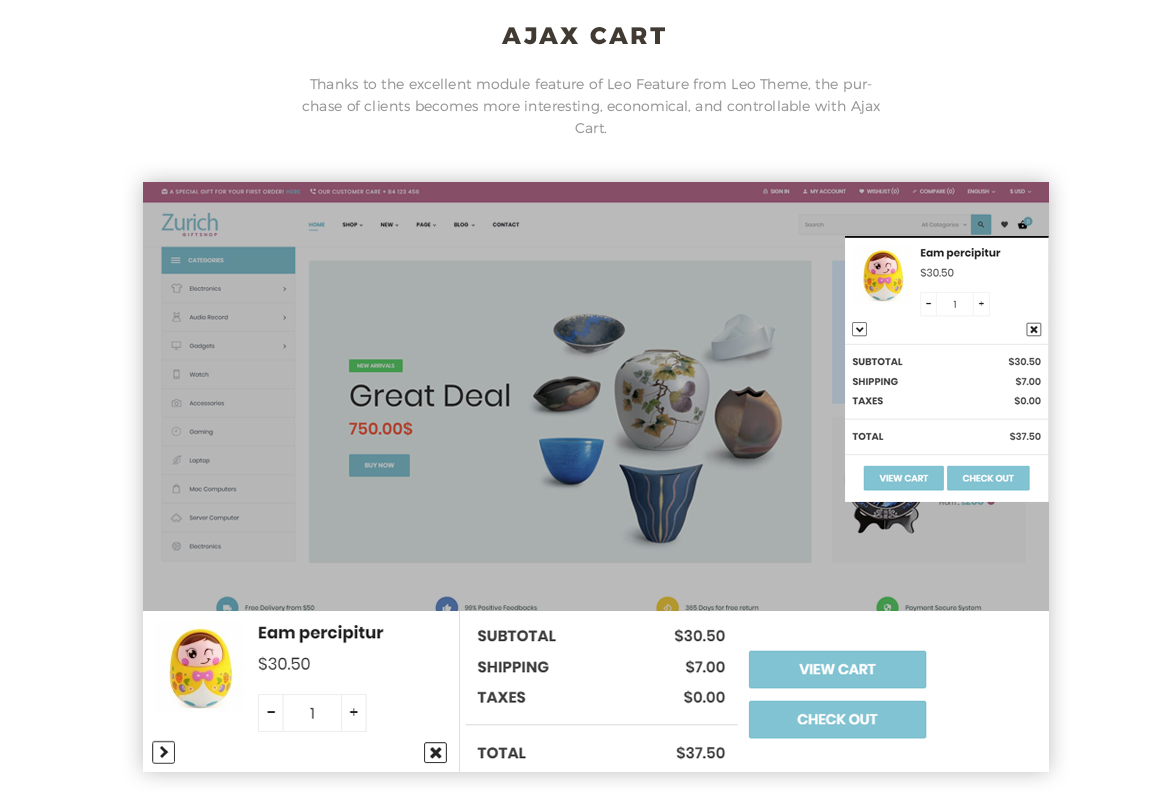 Ajax cart feature - Leo Zurich - Gifts and Souvenirs shop