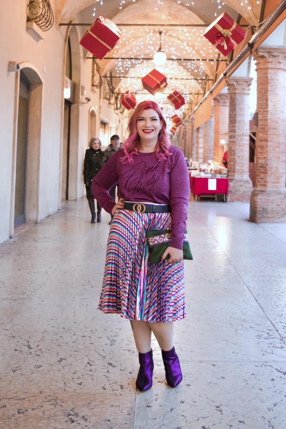 Outfit plus size, curvy, glitter, lamè e viola per Capodanno (1)