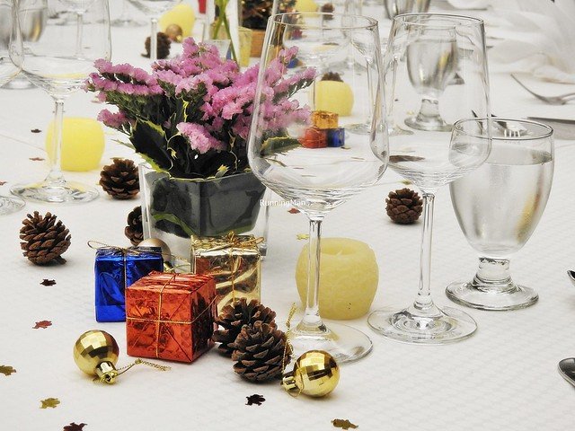 Presents, Pine Cone, Candle, Wine Glasses, Flowers