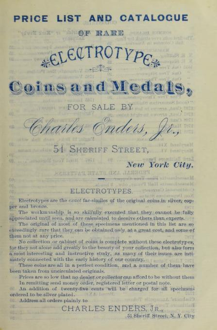Charles Enders Electrotypes Fixed Price List