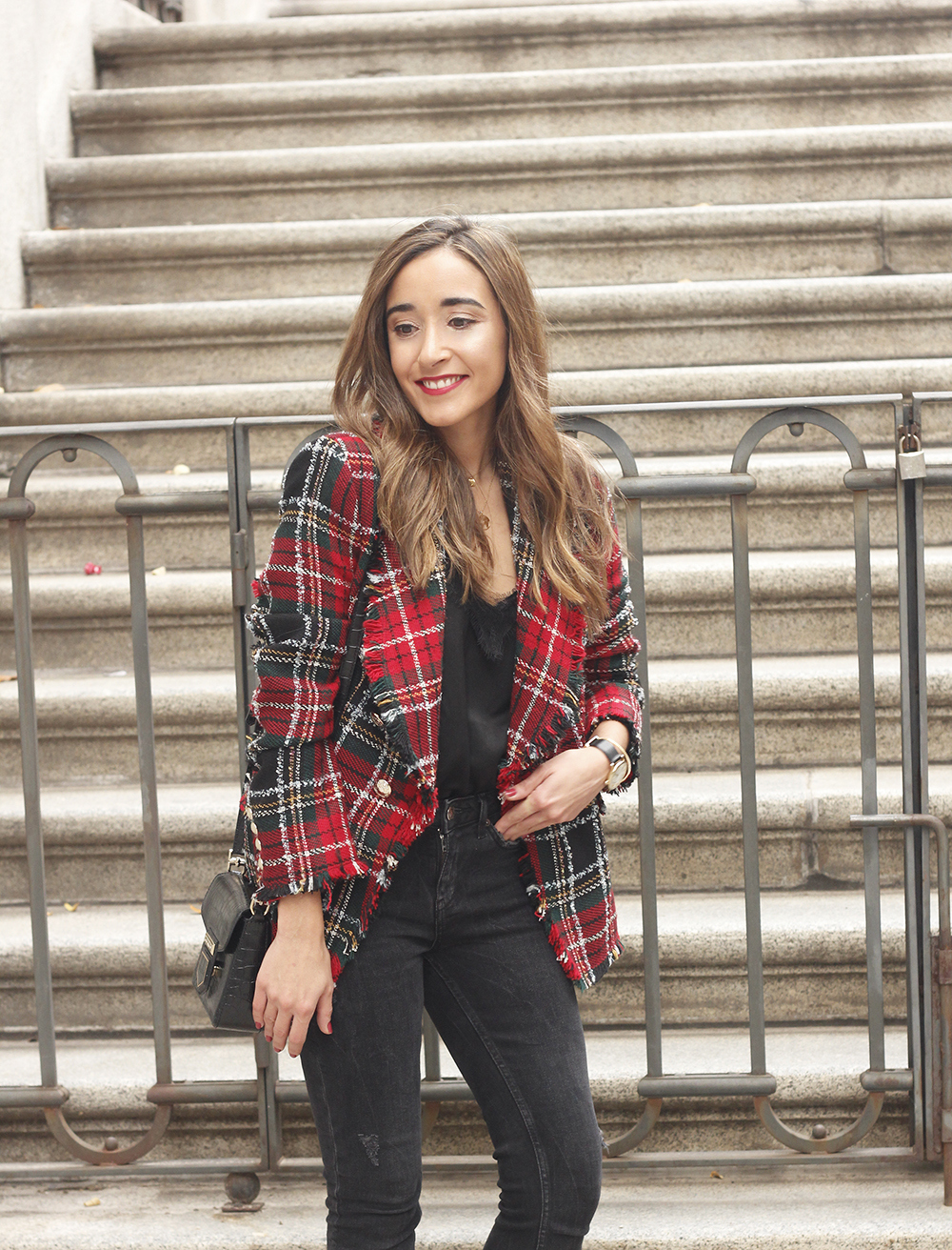 Tartan blazer black outfit heels givenchy bag street style fall outfit 20184136