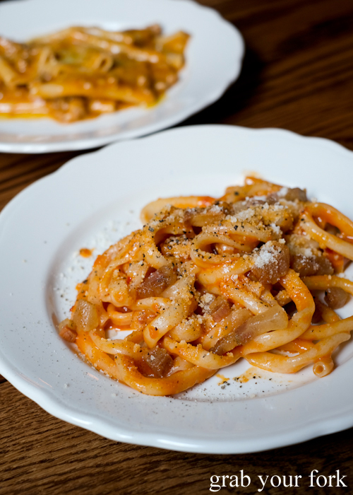 Bucatini pasta by Dan Pepperell at Alberto's Lounge in Surry Hills