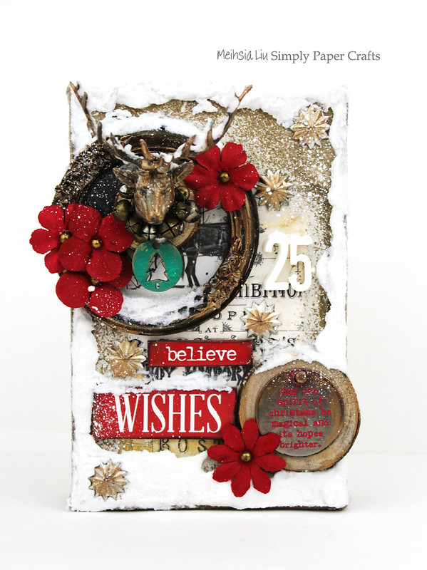 Meihsia Liu Simply Paper Crafts Mixed Media Canvas Warm Winter Wish Simon Says Stamp Tim Holtz Prima Flowers