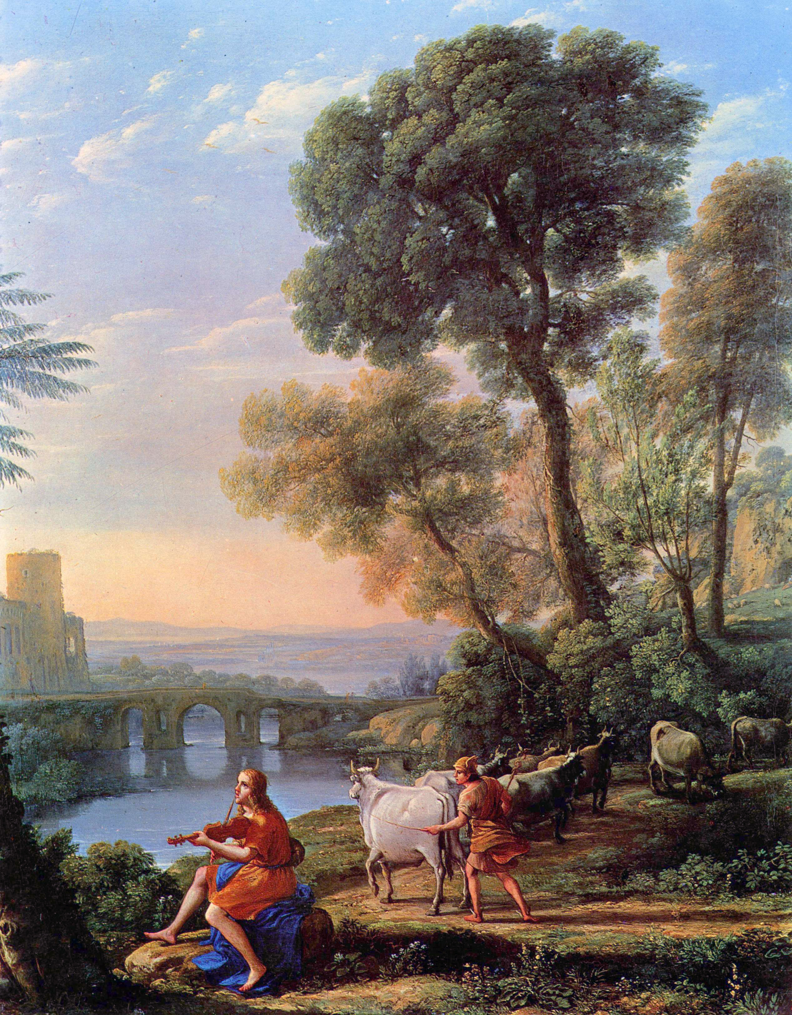 Landscape with Apollo Guarding the Herds of Admetus and Mercury stealing them by Claude Lorrain, oil on canvas, 1645. Currently in the collections of the Doria Pamphilj Gallery, housed in the Palazzo Doria Pamphilj in Rome, Italy.