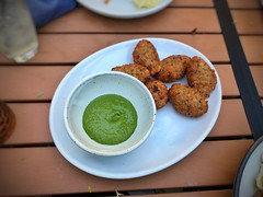 Black eye pea fritters, herb dipping sauce
