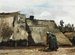 A Peasant Woman Digging in Front of Her Cottage (c.1885) by Vincent Van Gogh. Original from the Art Institute of Chicago. Digitally enhanced by rawpixel.