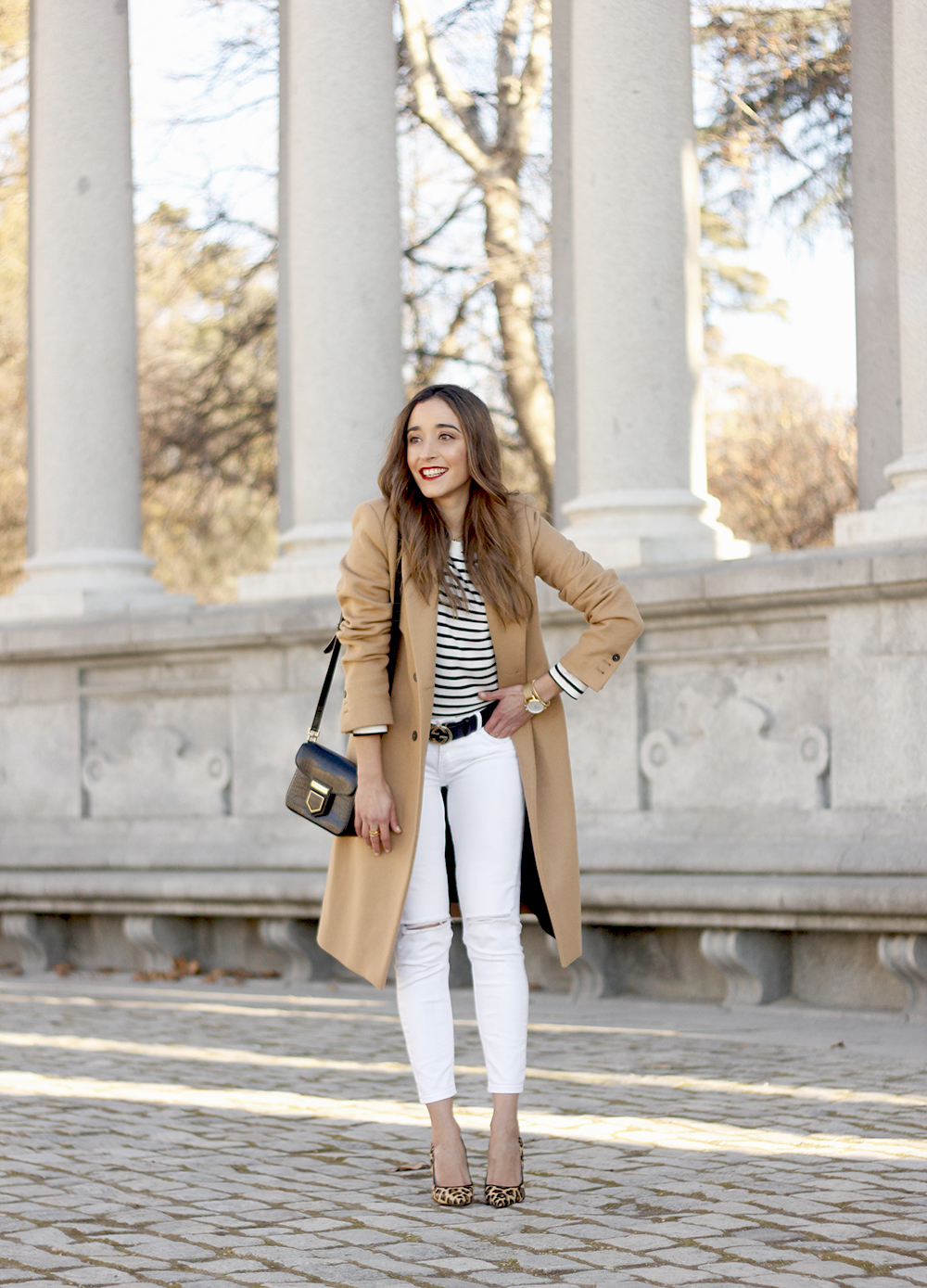 beige coat ripped jeans givenchy bag gucci belt street style outfit 20197