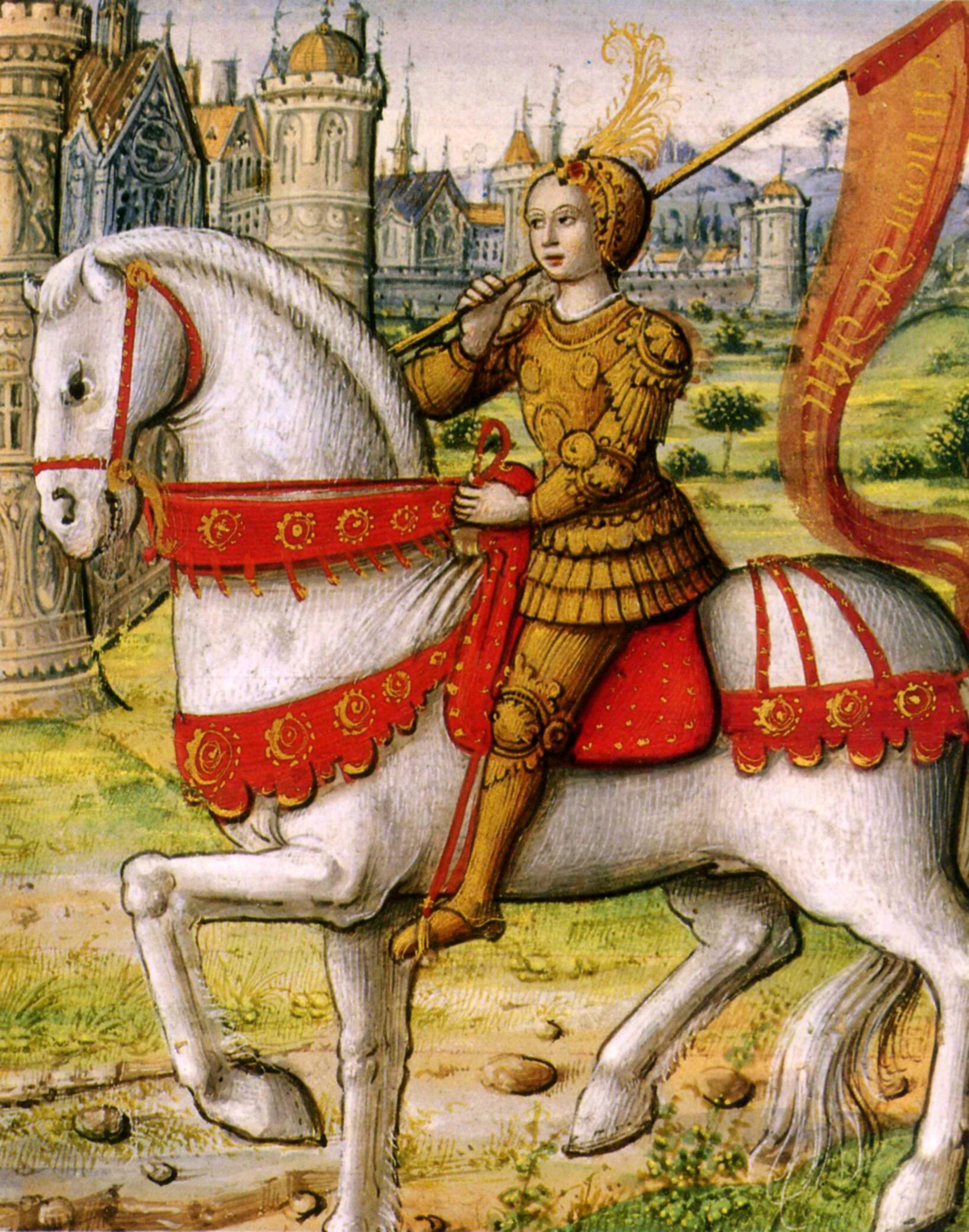 Joan of Arc depicted on horseback in a miniature illustration from the manuscript Les vies des femmes célèbres d'Antoine Dufour, illuminatioin on parchment, 1504. Currently in the Musée Dobrée, Nantes, France.