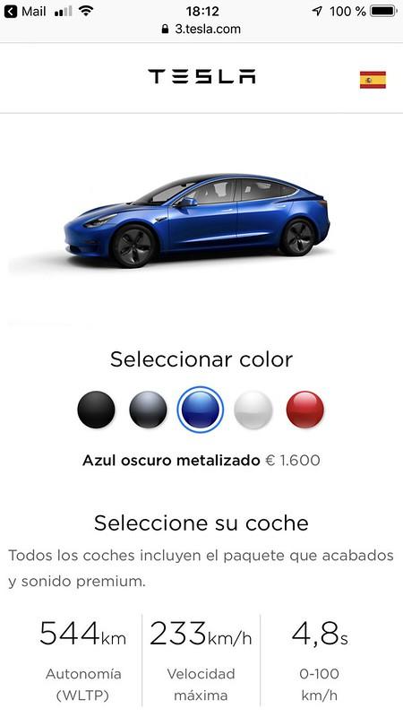 Nuestro Tesla Model 3 pedido el 2-2-17 y configurado el 14-12-18