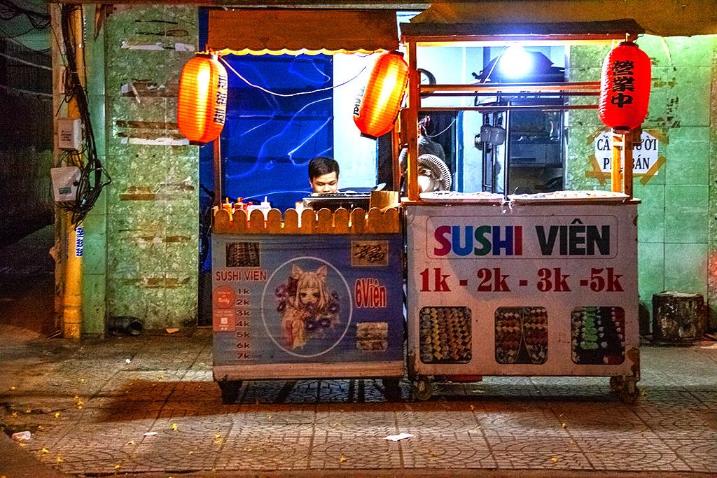 Sushi stand on Nguyen Van Luong--Saigon