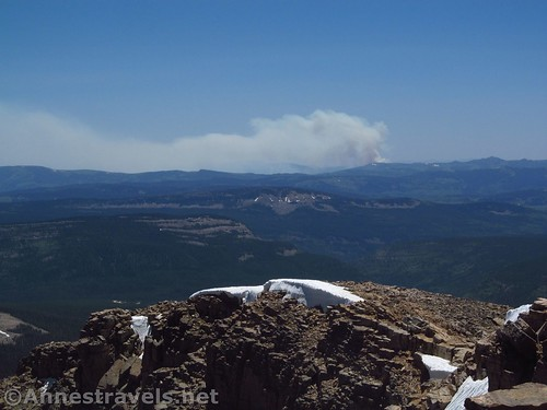 Smoke from the Strawberry Reservoir fire from the top of Bald Mountain in the Uinta Mountains of Utah