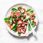 Crispy fried prosciutto, cherry tomatoes, spinach, parmesan salad...
