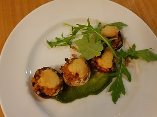 Baby Field Mushrooms stuffed with Pearl Couscous and Sesame Cheese at Two Tables (Graze)
