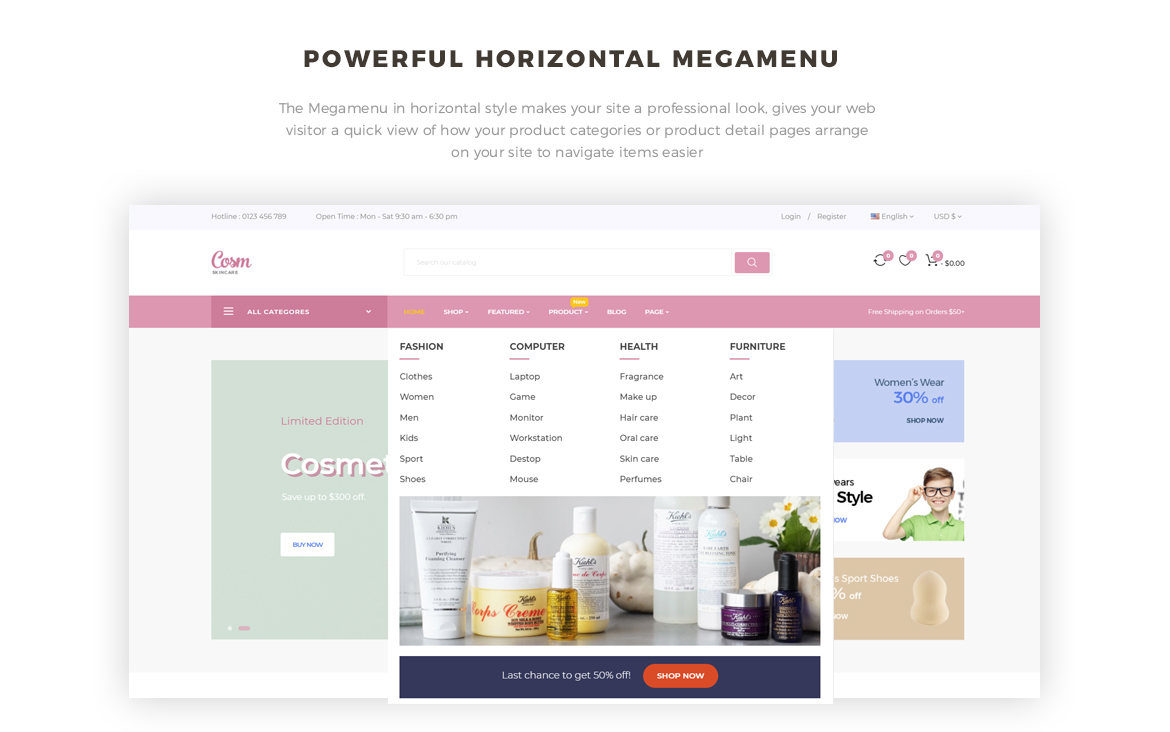 horizontal mege menu - Leo Cosm Prestashop 1.7 theme - Cosmetic and Beauty Store - free install support