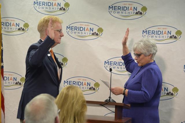 Phil Deschaine Sworn in as New Meridian Township Treasurer
