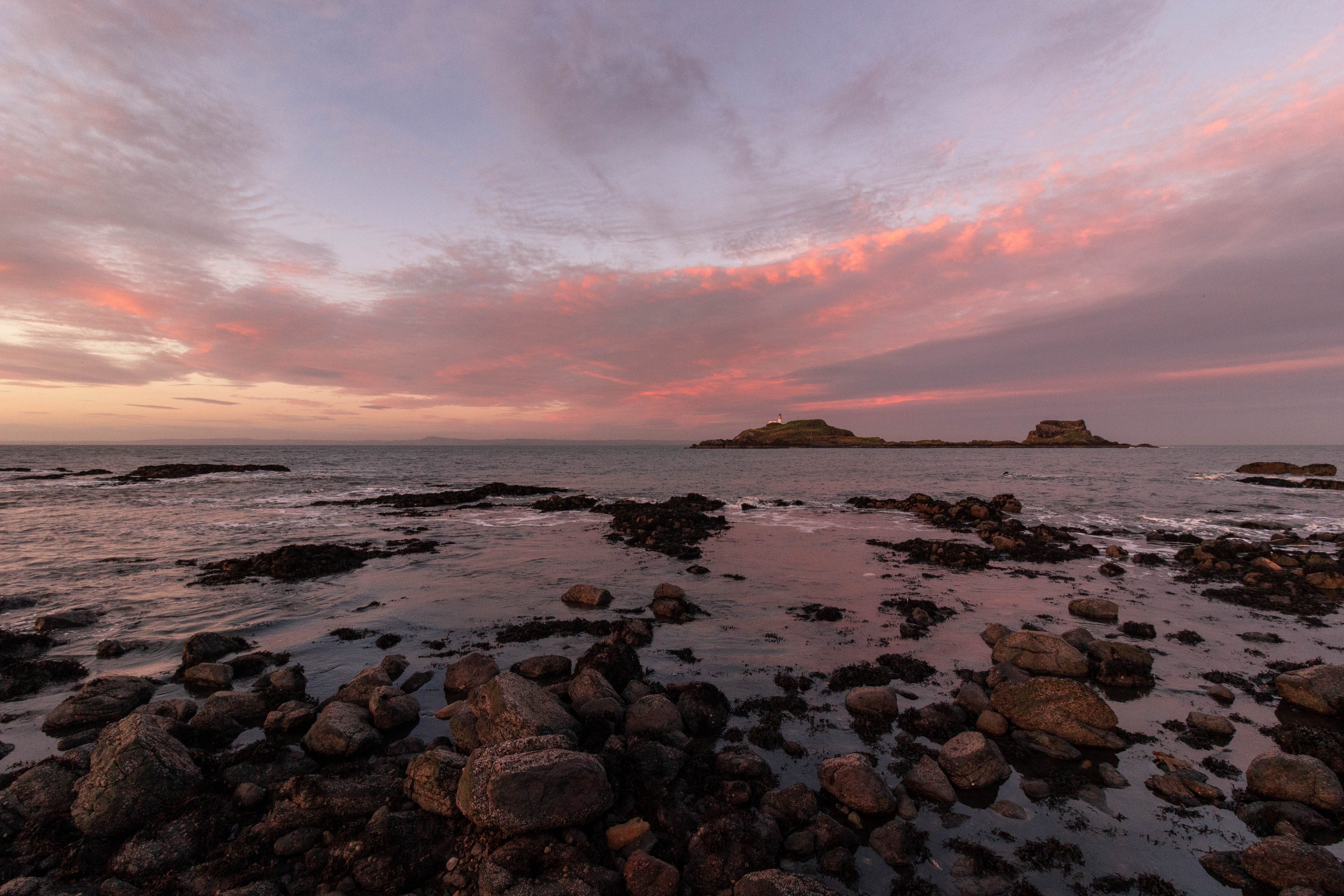 Pink sunset Isle of Fidra, Firth of Forth