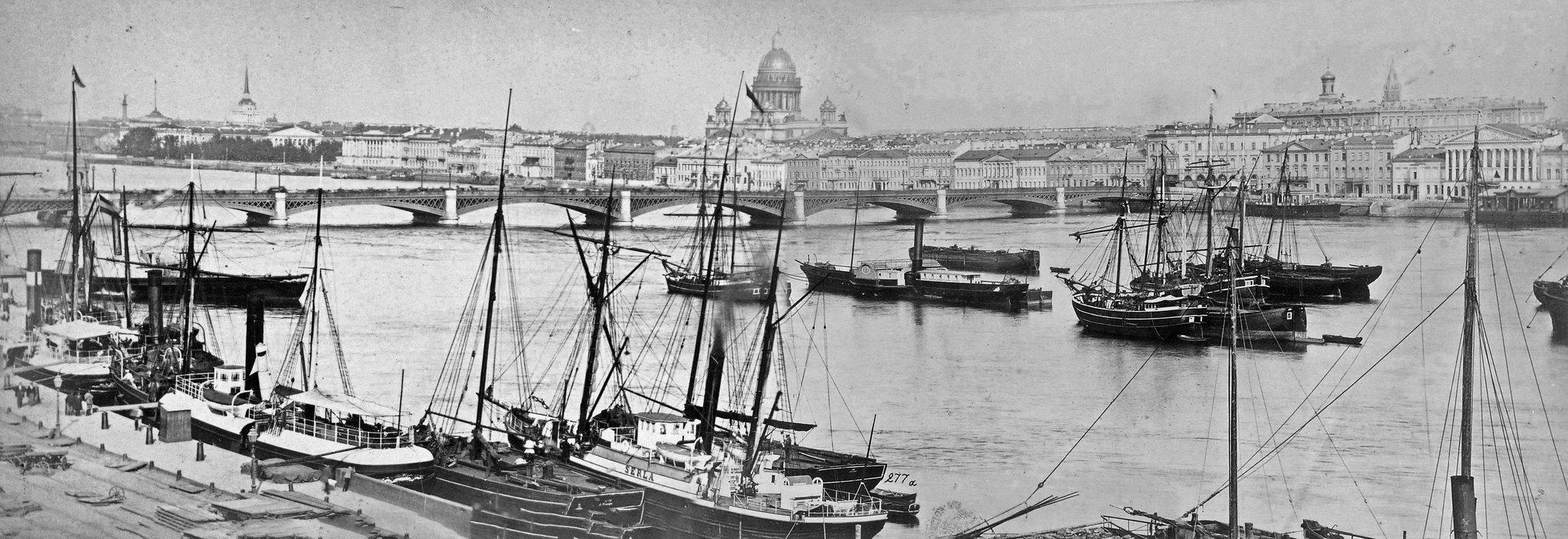 Вид на Николаевский мост от Морского кадетского корпуса. 1872