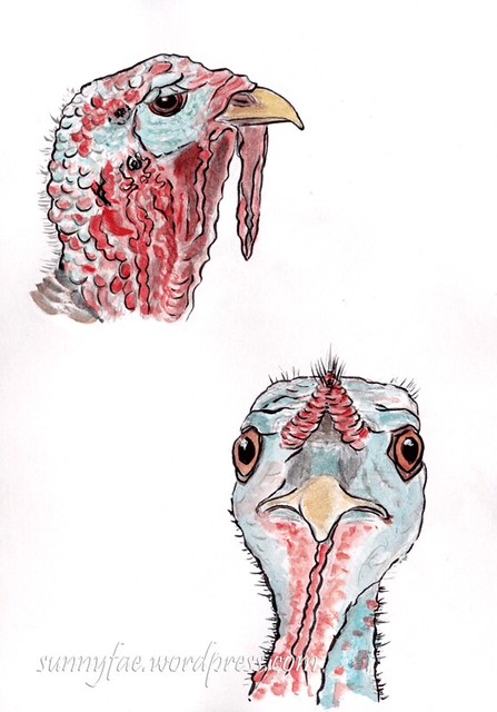 two turkey heads