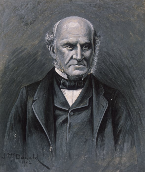 Head and shoulders portrait of James Busby, 1802-1871, British Resident at Waitangi, whose house was used for the signing of the Treaty of Waitangi in 1840 By James Ingram MacDonald, 1903. Currently in the collections of the Alexander Turnbull Library (reference: A-044-008).