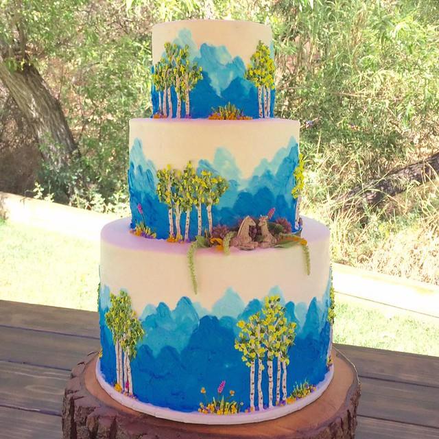 Colorado Theme Summer Wedding Cake by NJ Cakes