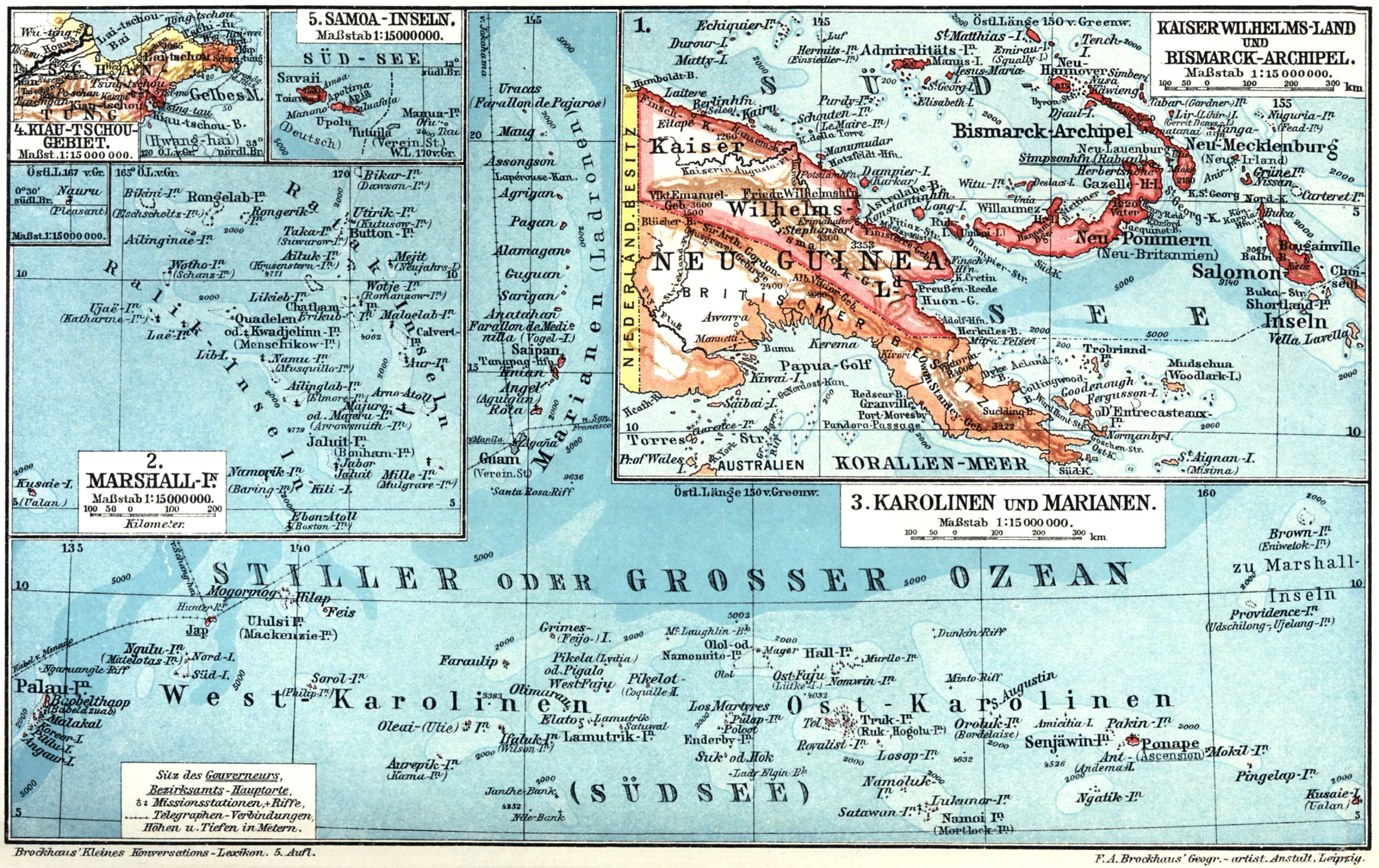 Map of the Kaiserwilhelmsland, the German colony of New Guinea, 1884–1919