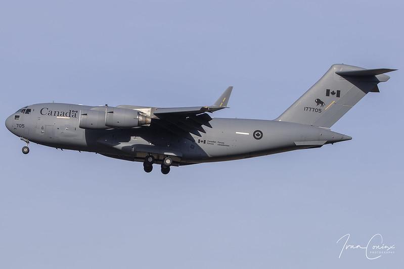 Boeing CC-177 Globemaster III (C-17A) – Canada-Air Force – 177705 – Brussels Airport (BRU EBBR) – 2018 11 14 – Landing RWY 25R – 03 – Copyright © 2018 Ivan Coninx