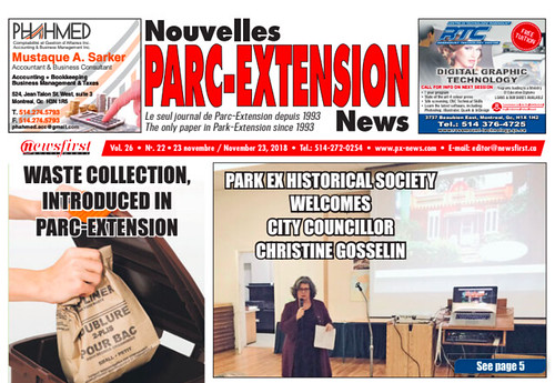 Cover of November 23rd Park Ex News