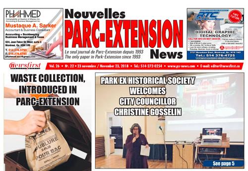 Cover of November 23rd Park Ex News