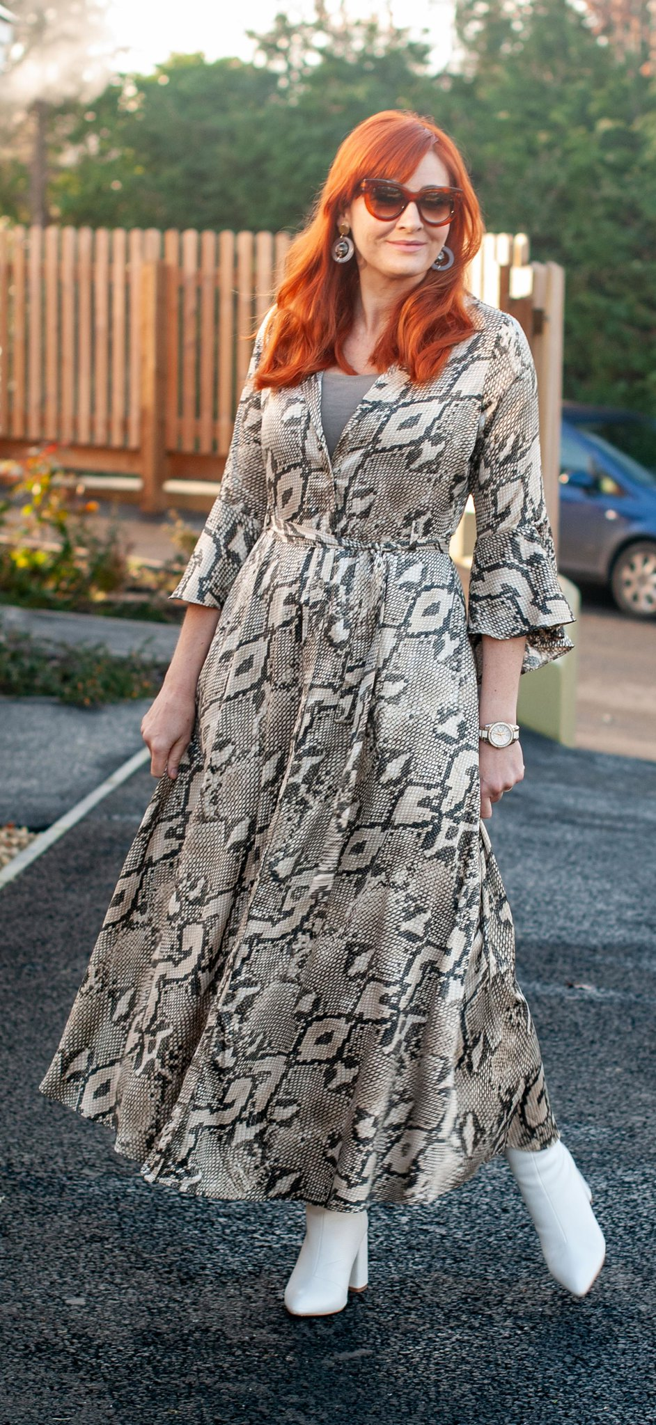 What to Wear for Christmas: A Snakeskin Maxi Dress With White Boots   Not Dressed As Lamb, over 40 style blog