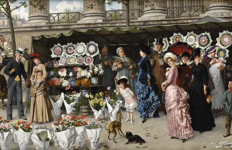 Wladyslaw Bakalowicz - A flower market at la Madeleine, Paris
