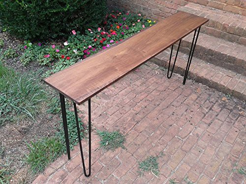 Cheap Beautiful honey brown poplar console table sofa table with black hairpin legs