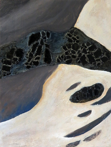 Painting of a Botanical Beach rock with black glass from a broken car window