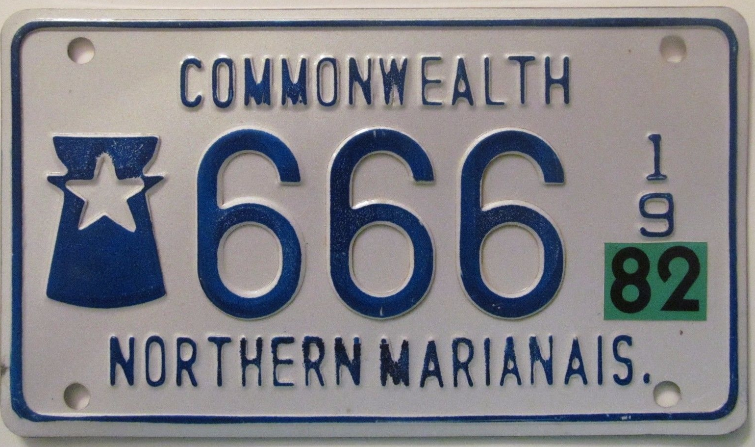 Motorcycle license plate from the Northern Mariana Islands, 1982.