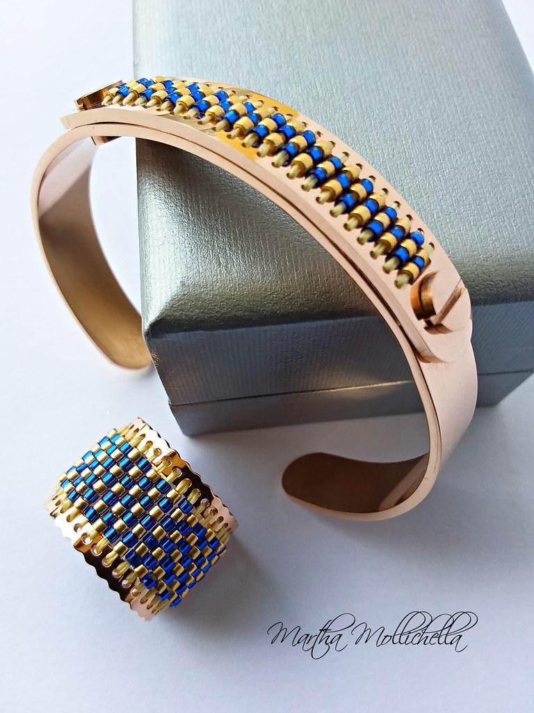 martha mollichella Centerline Miyuki bracelet and ring set centerlinecuff centerlinering centerlinebeading miyukibeads beadsmith beadsmitheu italianbeading