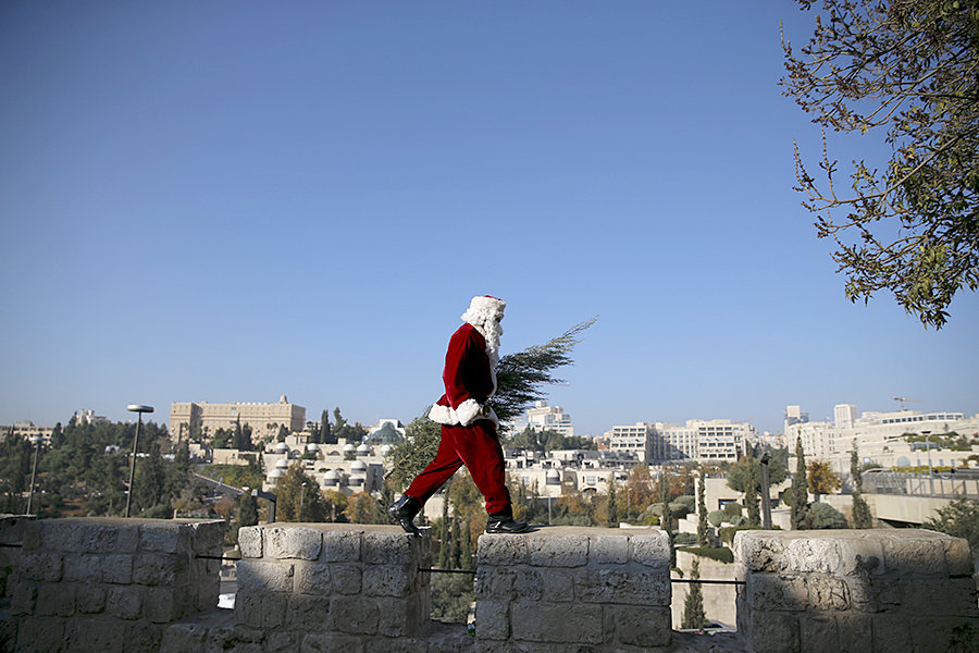 Santa Claus in Israel during Novy God.