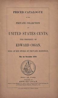 Cogan 1858 Sale of U.S. Cents