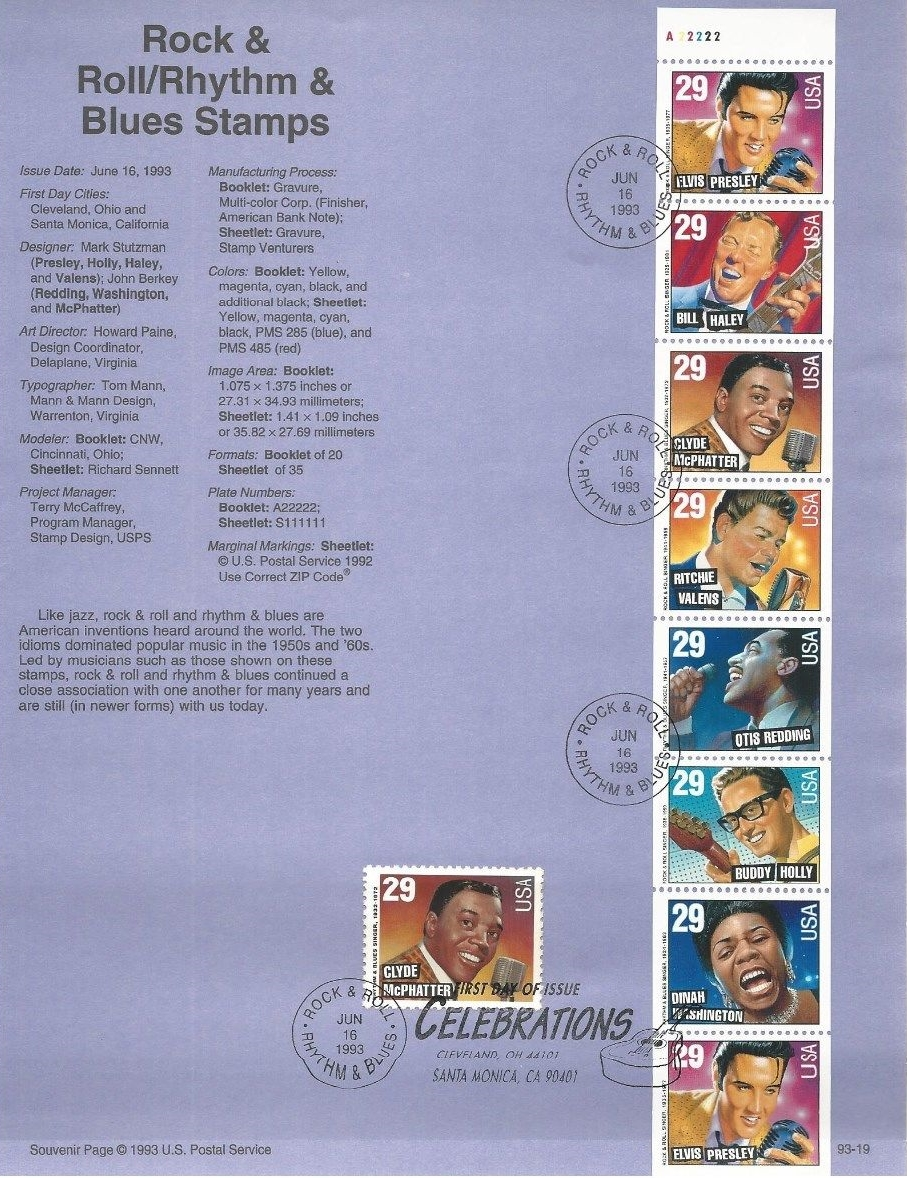 United States - Scott #2726 and Scott #2731-2737 (1993) on souvenir page