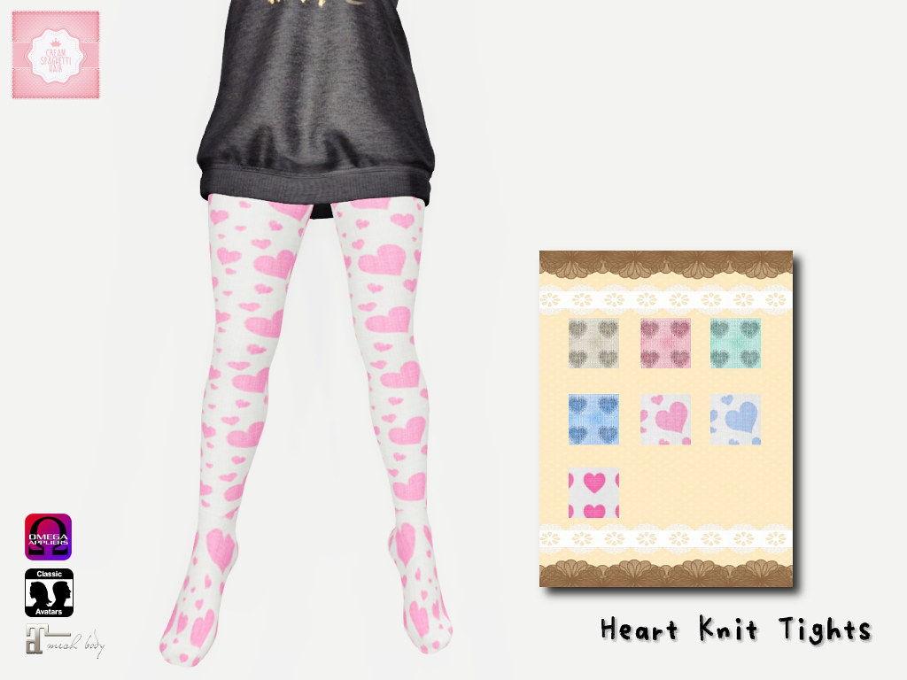 !cream spaghetti hair! Heart Knit Tights AD2