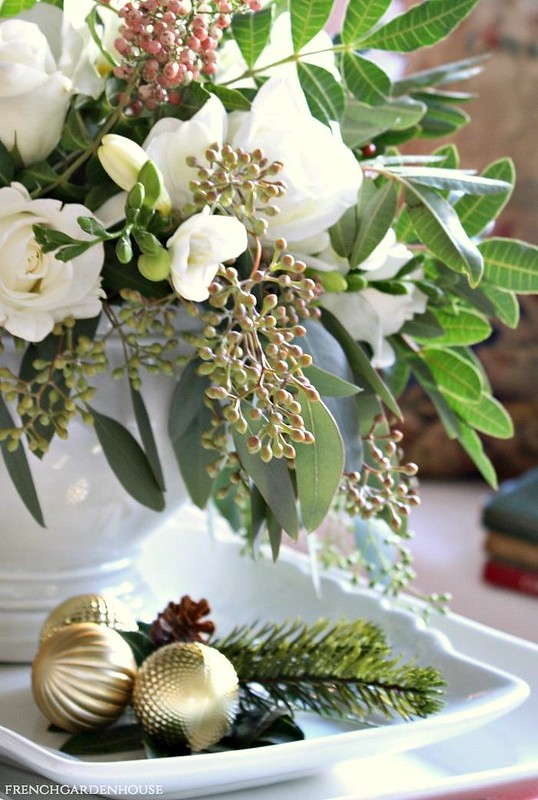 White-French-Country-Christmas-Arrangement-in-French-Ironstone-FrenchGardenHouse
