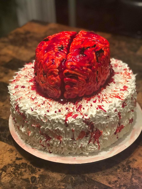 Red Velvet Zombie Brains with Preserves by Angela Kozokas of Iggy's Custom Cakes