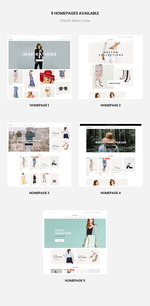 multiple homepages for fashion